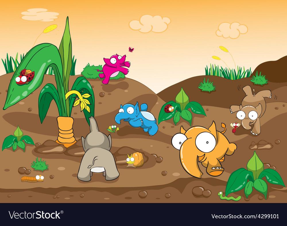 Elephant cartoon vector | Price: 3 Credit (USD $3)