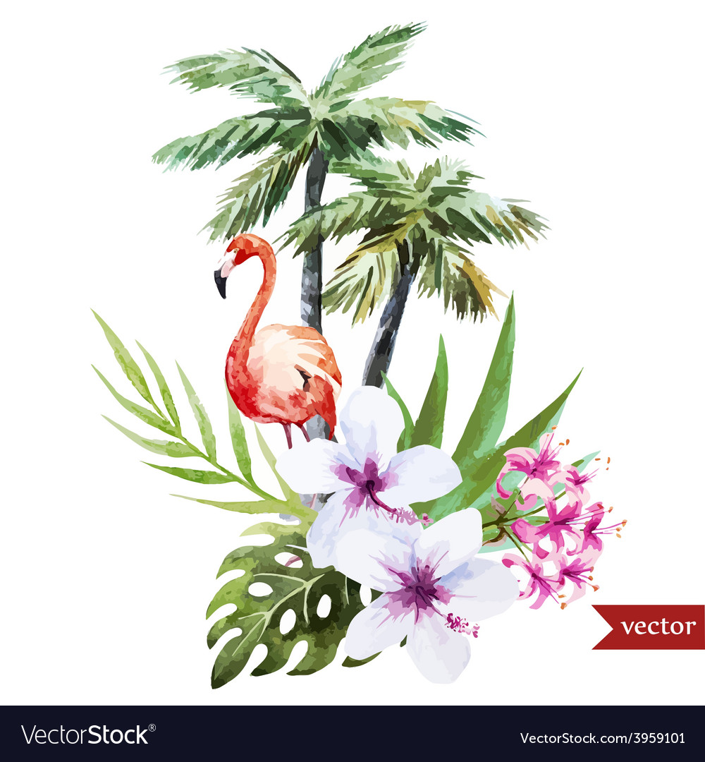 Flamingo with palms and flowers vector | Price: 1 Credit (USD $1)