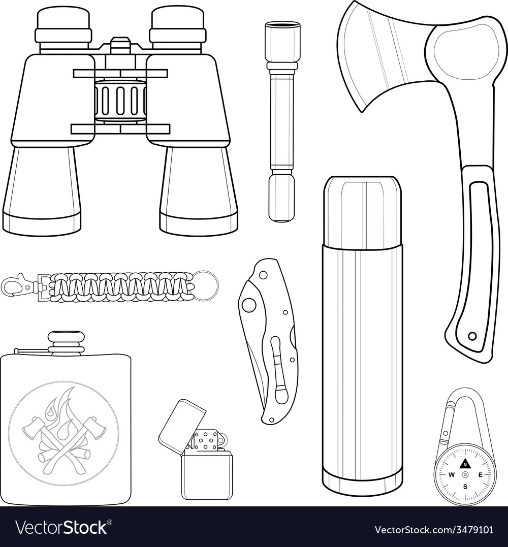 Mini camping set line-art vector | Price: 1 Credit (USD $1)
