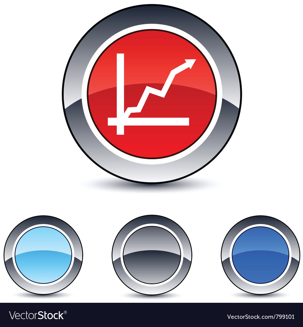 Positive trend round button vector | Price: 1 Credit (USD $1)