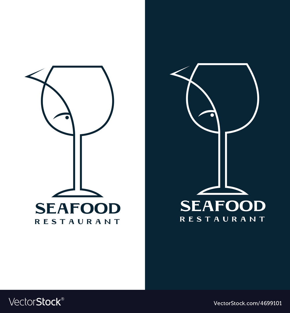 Seafood restaurant design template with wine glass vector | Price: 1 Credit (USD $1)