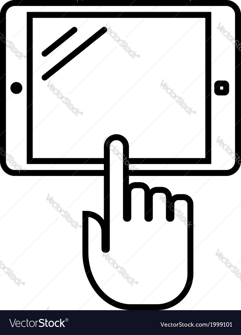 Tablet with hand outline icon vector | Price: 1 Credit (USD $1)