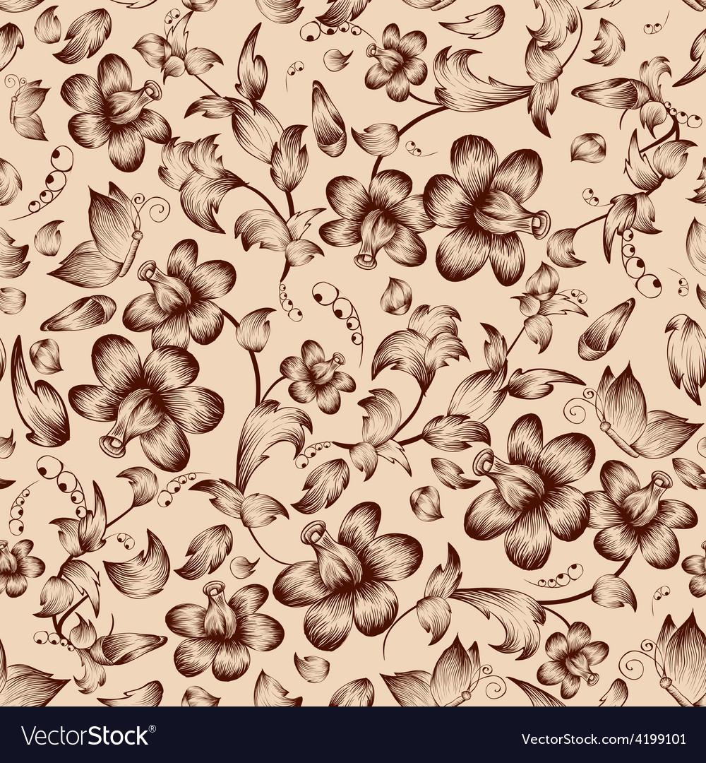 Vintage flower ornate seamless pattern vector | Price: 1 Credit (USD $1)