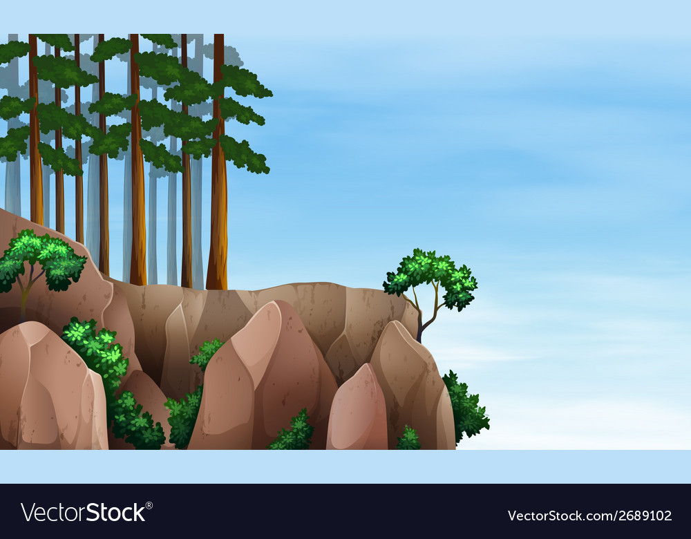 A rainforest at the cliff vector | Price: 1 Credit (USD $1)