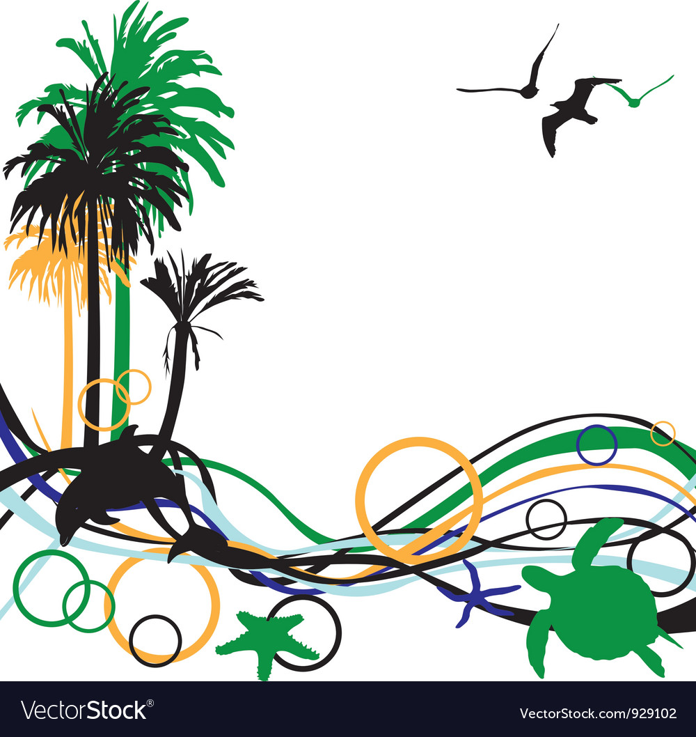 Abstract background with palm trees vector   Price: 1 Credit (USD $1)