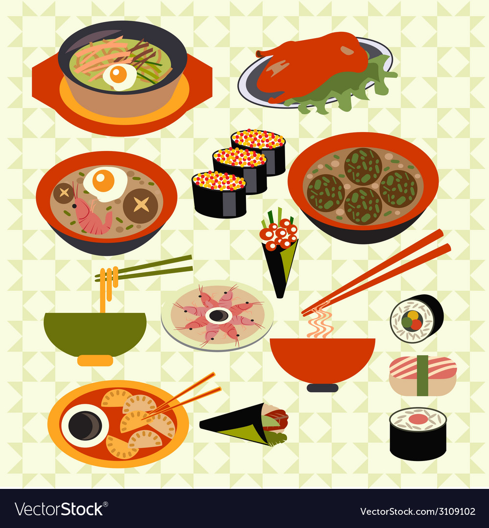 Asian food japanese dishes - vector | Price: 1 Credit (USD $1)