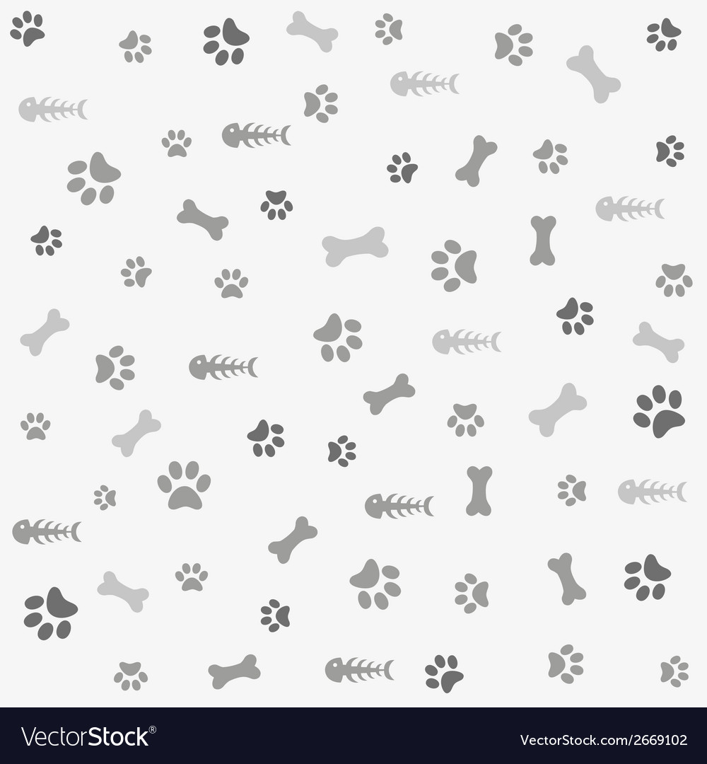 Background with dog cat paw print and bone vector | Price: 1 Credit (USD $1)
