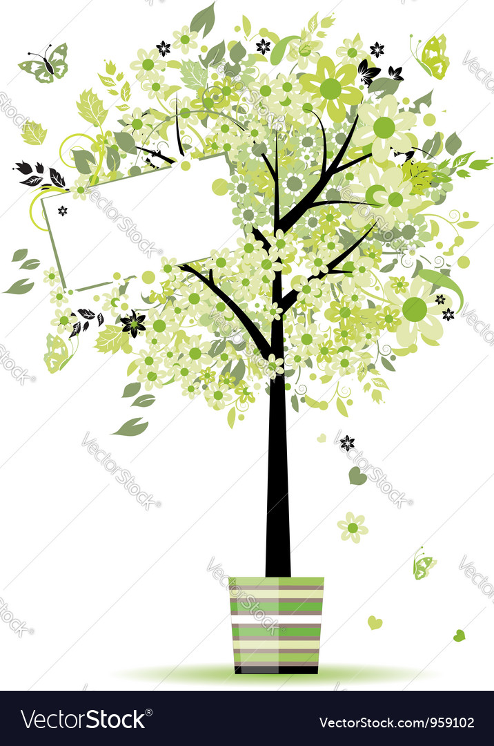 Beautiful spring tree in pot for your design vector | Price: 1 Credit (USD $1)