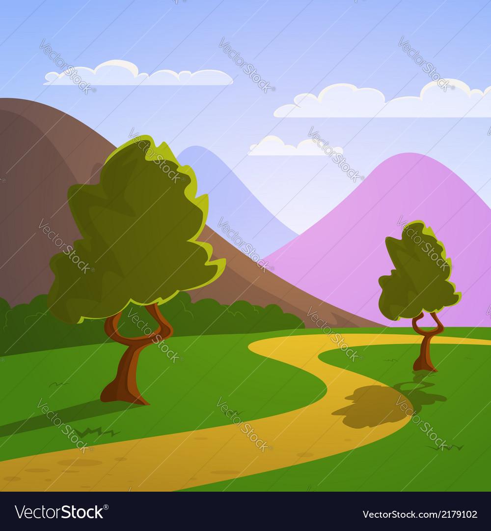 Cartoon summer landscape vector | Price: 3 Credit (USD $3)