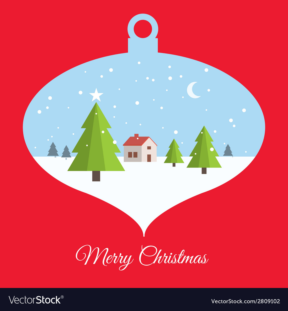 Christmas ball red card vector | Price: 1 Credit (USD $1)