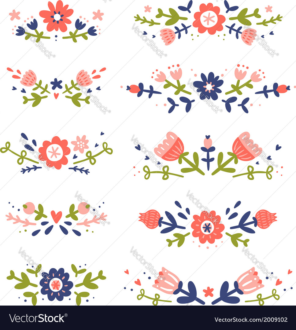 Decorative colorful floral compositions set 2 vector | Price: 1 Credit (USD $1)