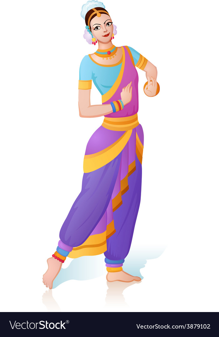 Ethnic dance of indian girl vector | Price: 1 Credit (USD $1)