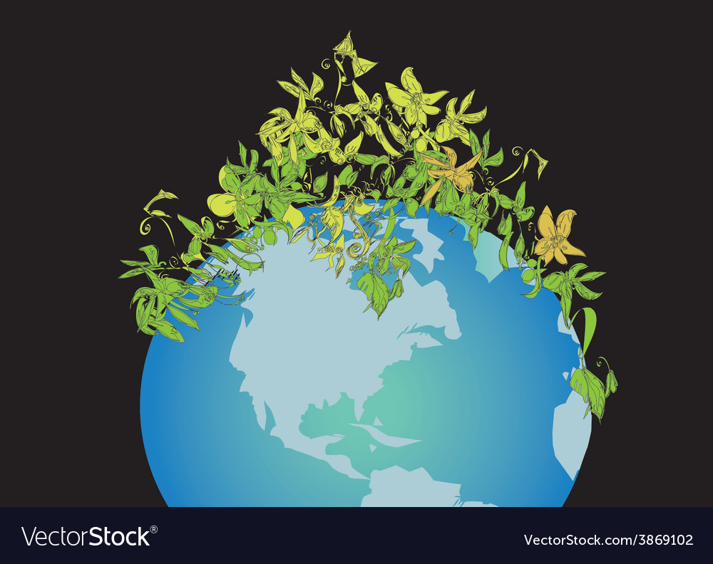 Globe and plant vector | Price: 1 Credit (USD $1)