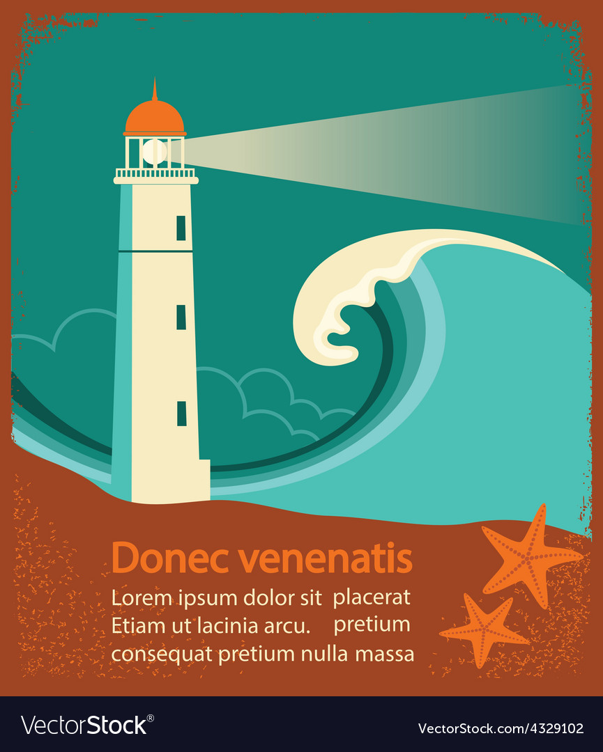 Lighthouse retro poster for text vector | Price: 1 Credit (USD $1)