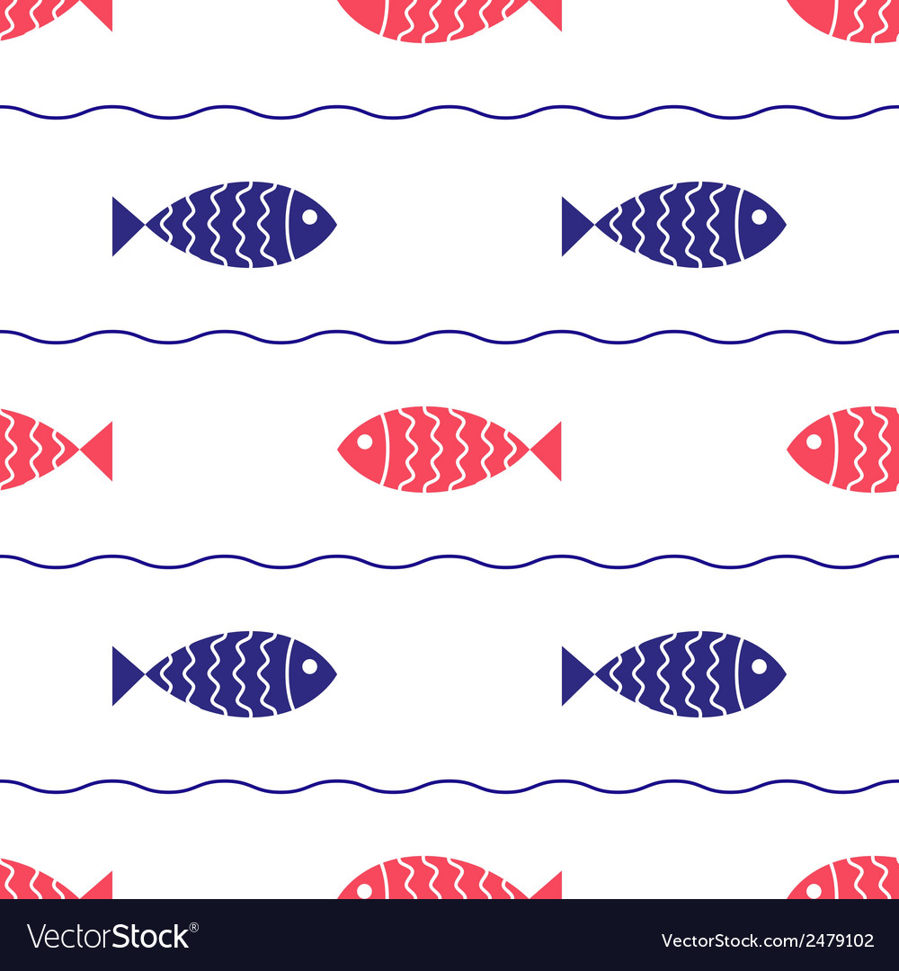 Seamless nautical pattern with fish and waves vector | Price: 1 Credit (USD $1)