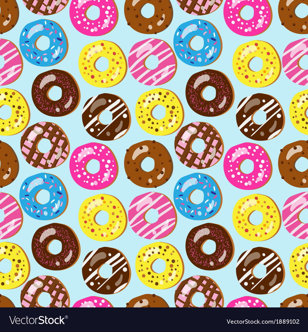 Seamless pattern of assorted doughnuts vector | Price: 1 Credit (USD $1)
