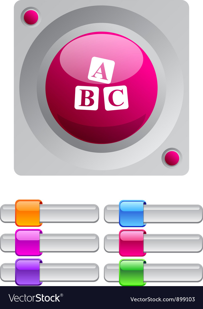 Abc cubes color round button vector | Price: 1 Credit (USD $1)
