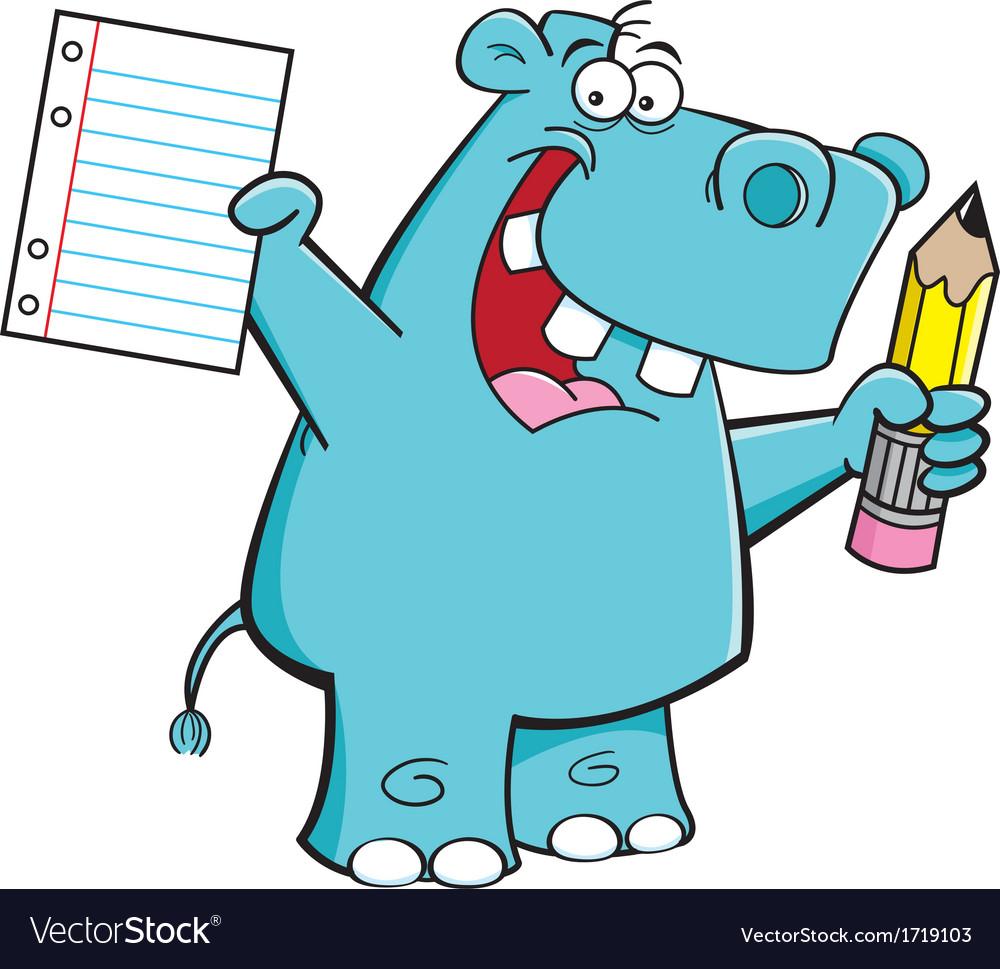 Cartoon hippo student vector | Price: 1 Credit (USD $1)