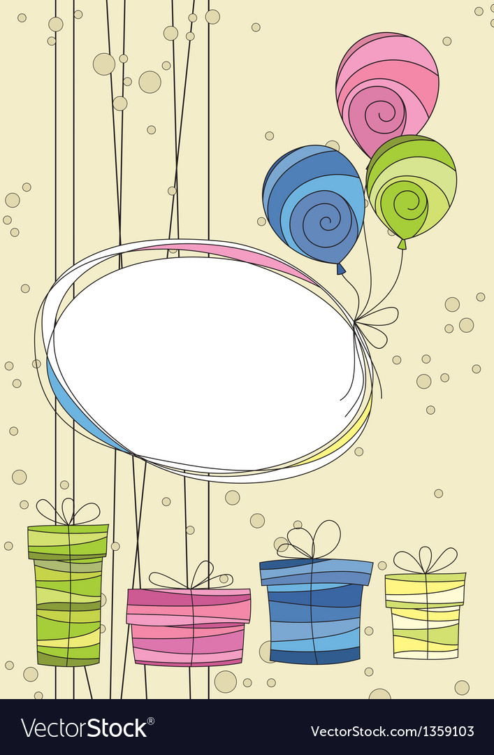Celebration card with balloons and gifts vector | Price: 1 Credit (USD $1)