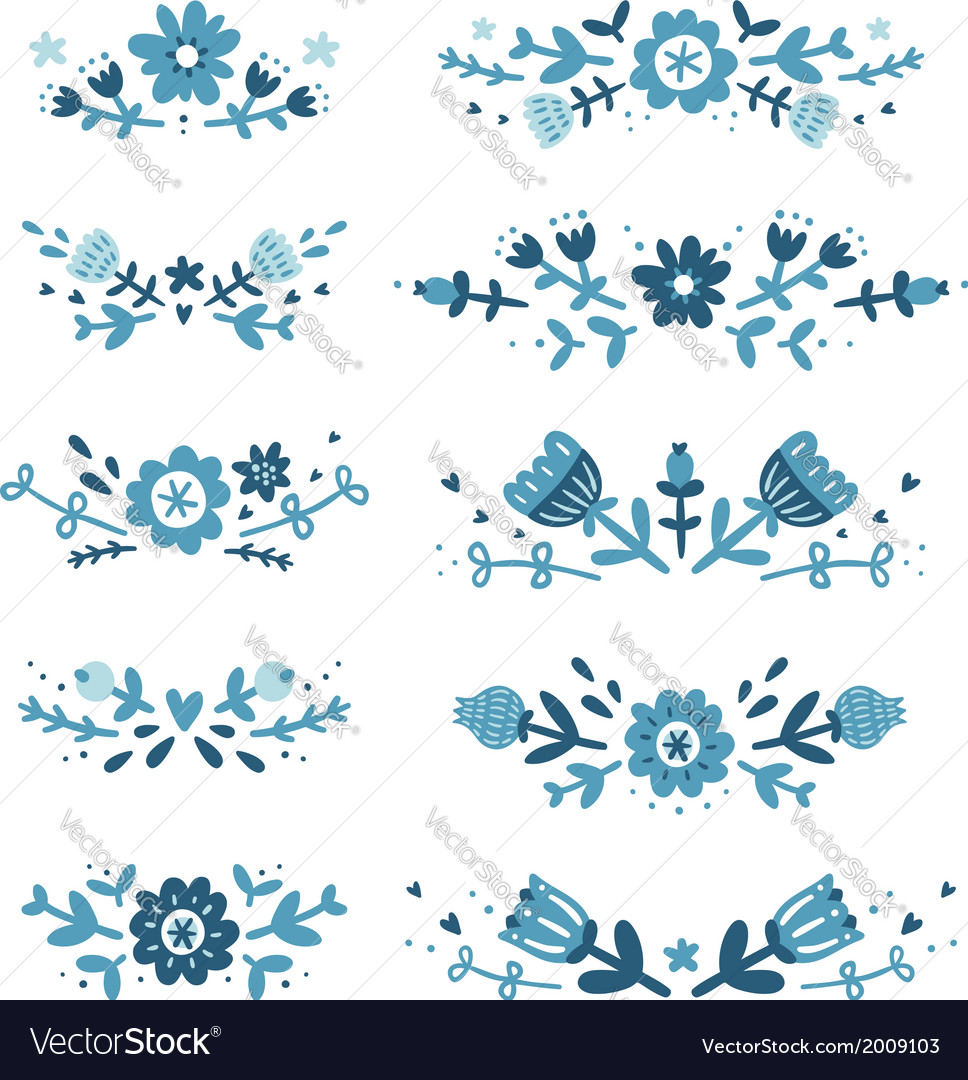 Decorative floral compositions set 2 vector | Price: 1 Credit (USD $1)