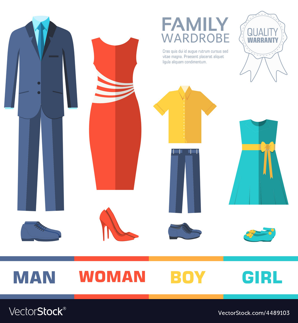 Flat collection style fashion clothing for family vector   Price: 1 Credit (USD $1)