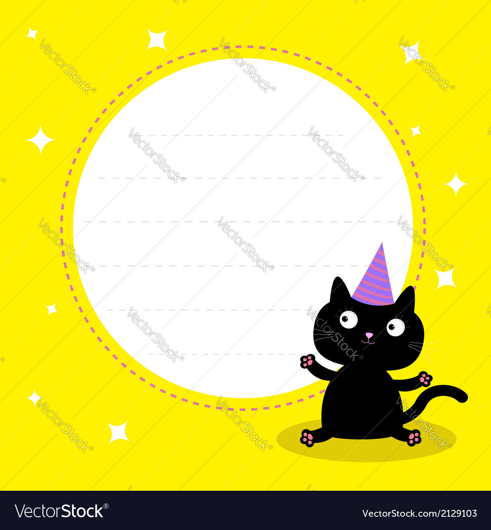 Frame with cute cartoon black cat birthday hat vector   Price: 1 Credit (USD $1)