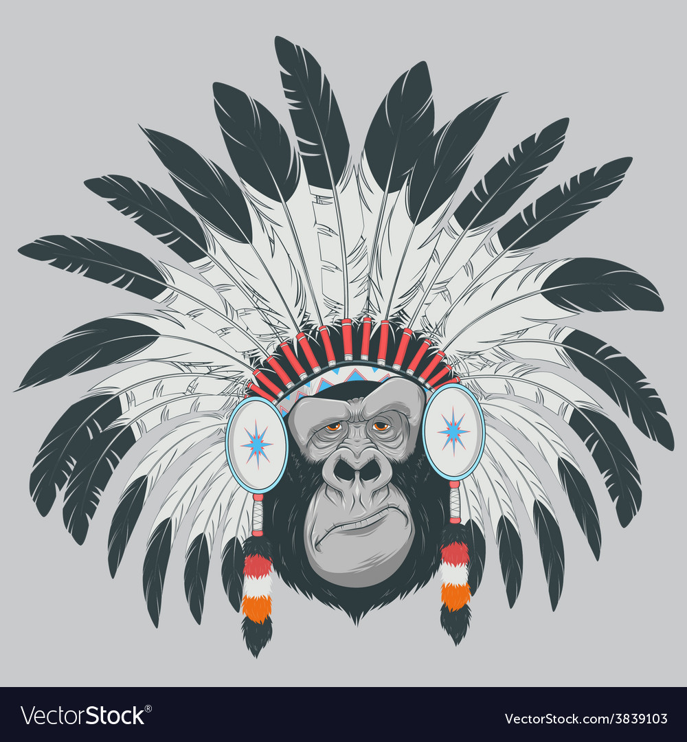 Monkey indian chief vector | Price: 3 Credit (USD $3)
