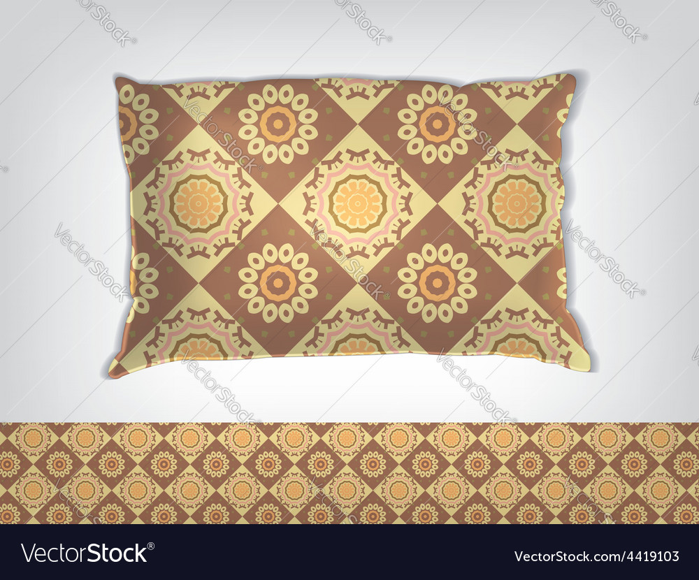 Pillow with indian pattern mockup vector | Price: 1 Credit (USD $1)