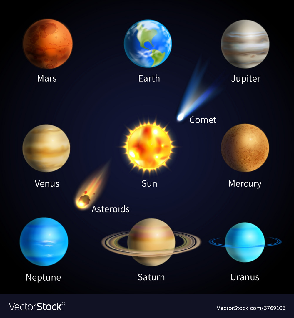 Realistic planets set vector | Price: 1 Credit (USD $1)