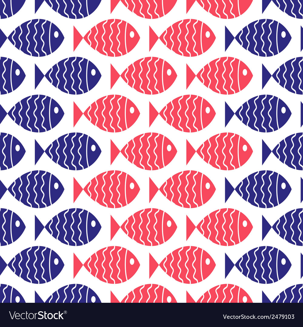 Seamless nautical pattern with fish vector | Price: 1 Credit (USD $1)