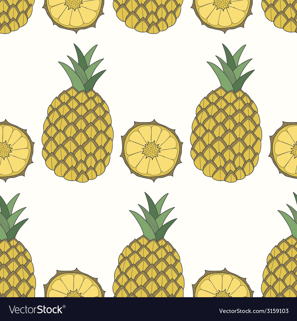 Seamless pattern of pineapples fruit background vector | Price: 1 Credit (USD $1)