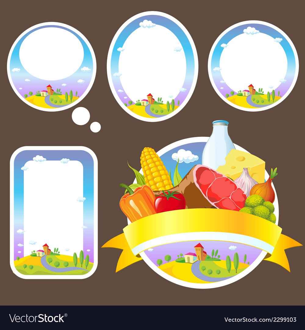 Stickers and labels with landscape vector | Price: 1 Credit (USD $1)