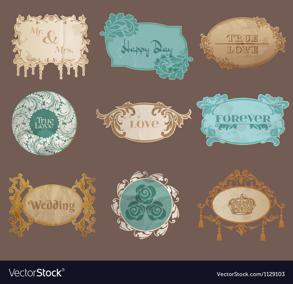 Vintage paper wedding frame collection vector | Price: 1 Credit (USD $1)