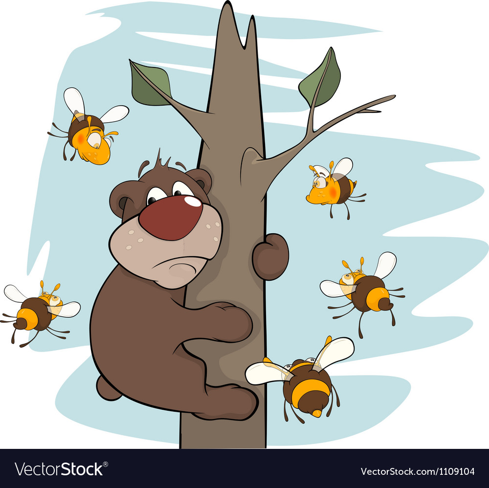 Bear cub and bees vector | Price: 1 Credit (USD $1)