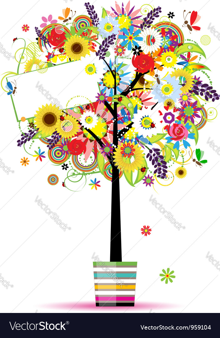 Beautiful summer tree in pot for your design vector | Price: 1 Credit (USD $1)