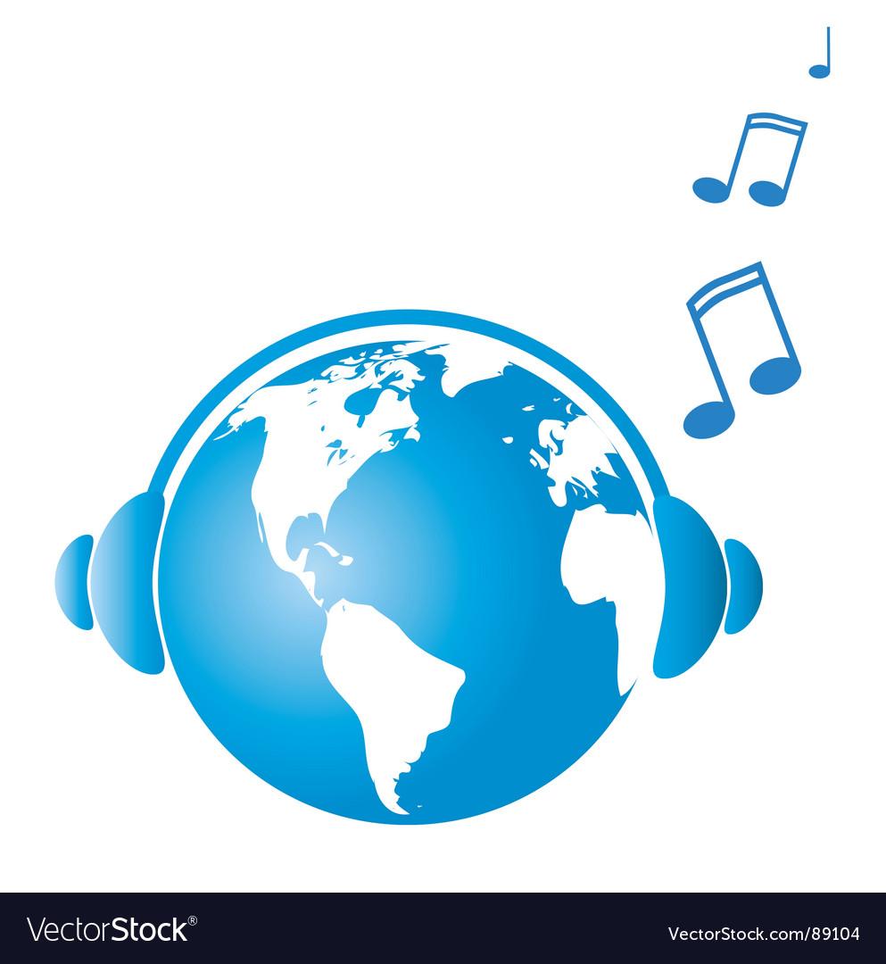 Earth witj headphones vector | Price: 1 Credit (USD $1)