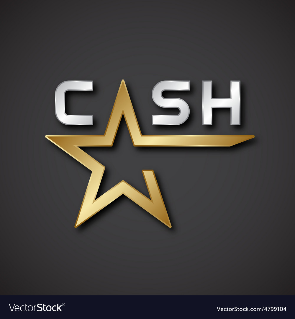 Eps10 cash golden star inscription icon vector | Price: 1 Credit (USD $1)