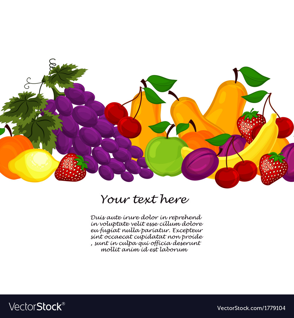 Fruit design borders isolated on white vector | Price: 1 Credit (USD $1)
