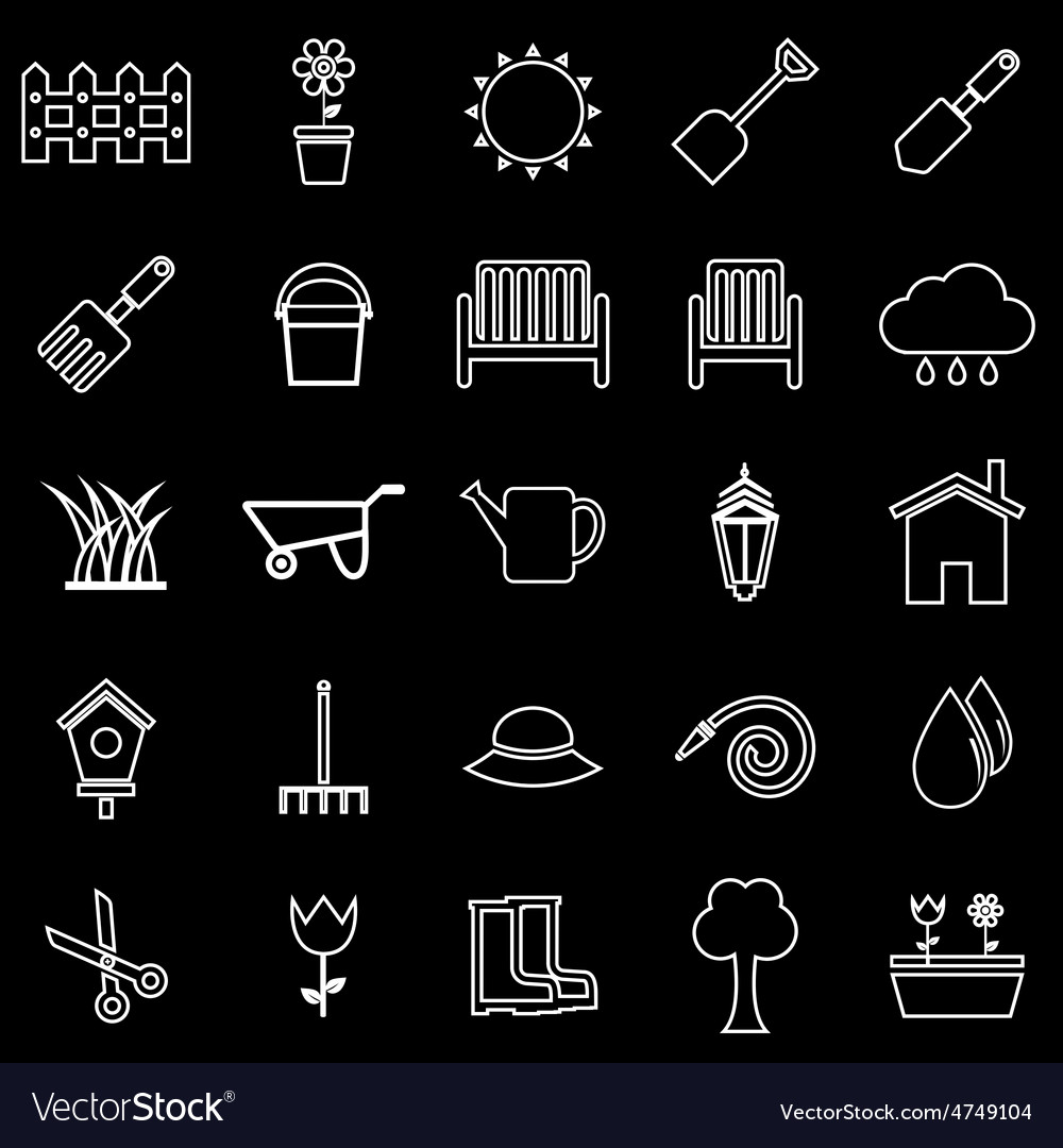 Gardening line icons on black background vector | Price: 1 Credit (USD $1)