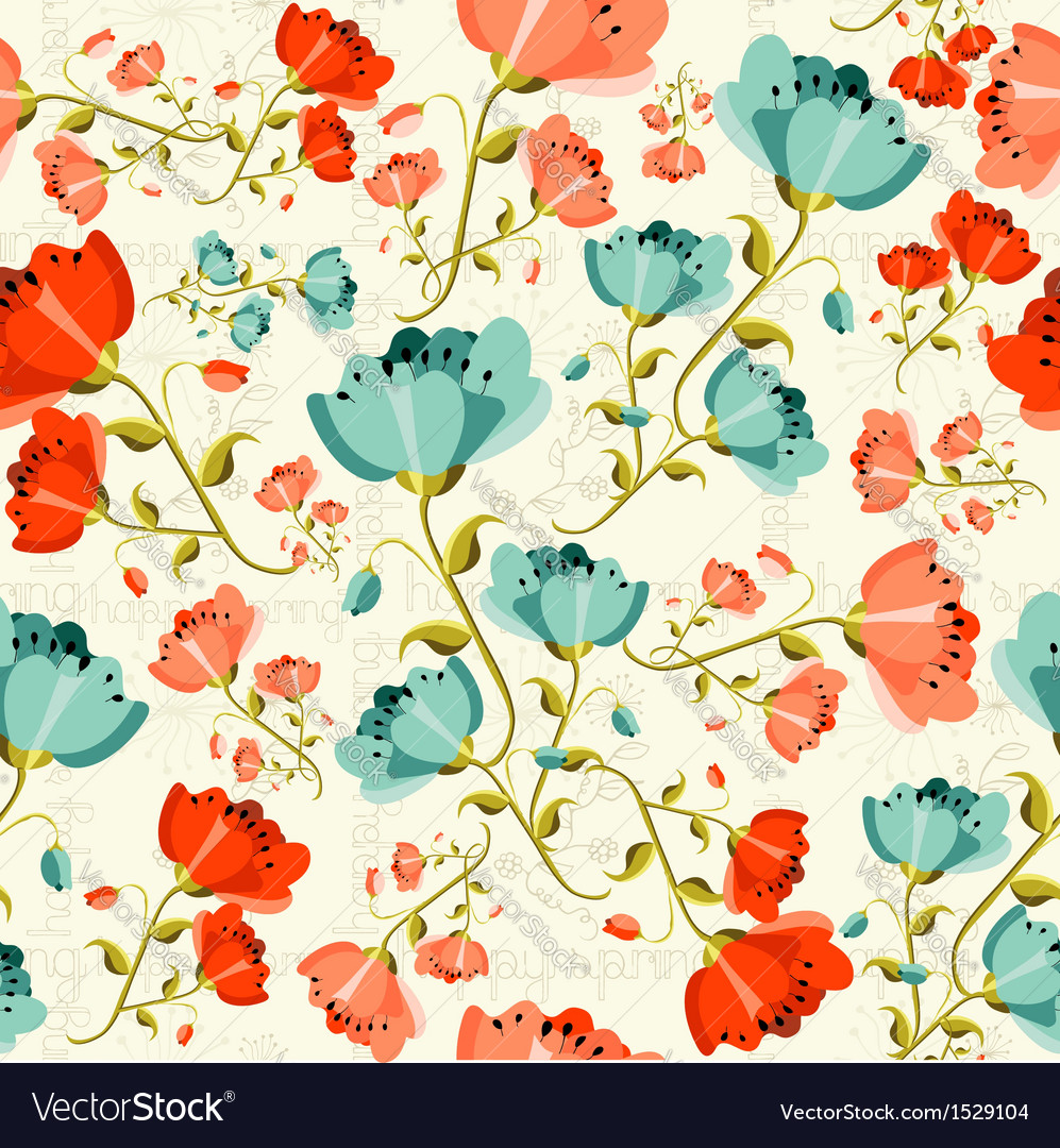 Happy spring poppy flower pattern vector | Price: 1 Credit (USD $1)