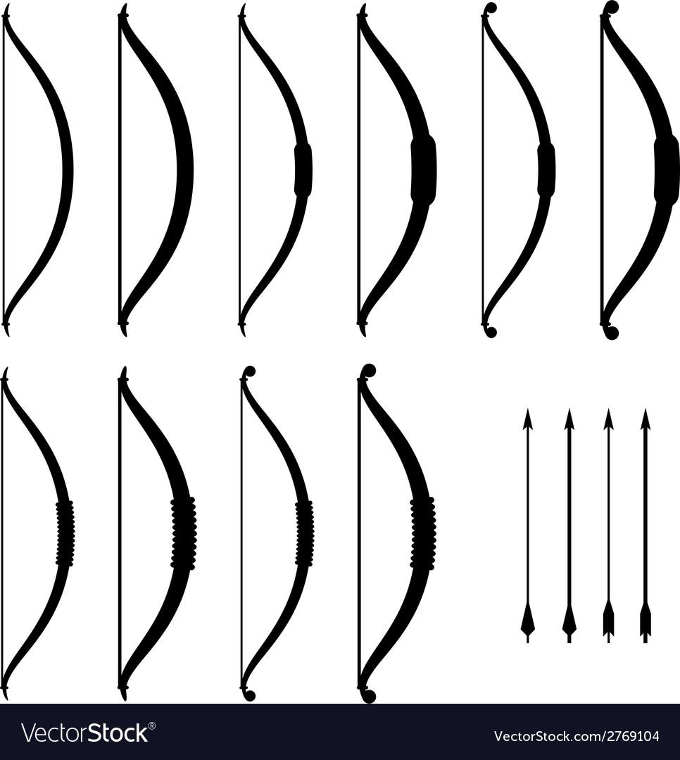 Medieval bow weapon black symbols vector | Price: 1 Credit (USD $1)
