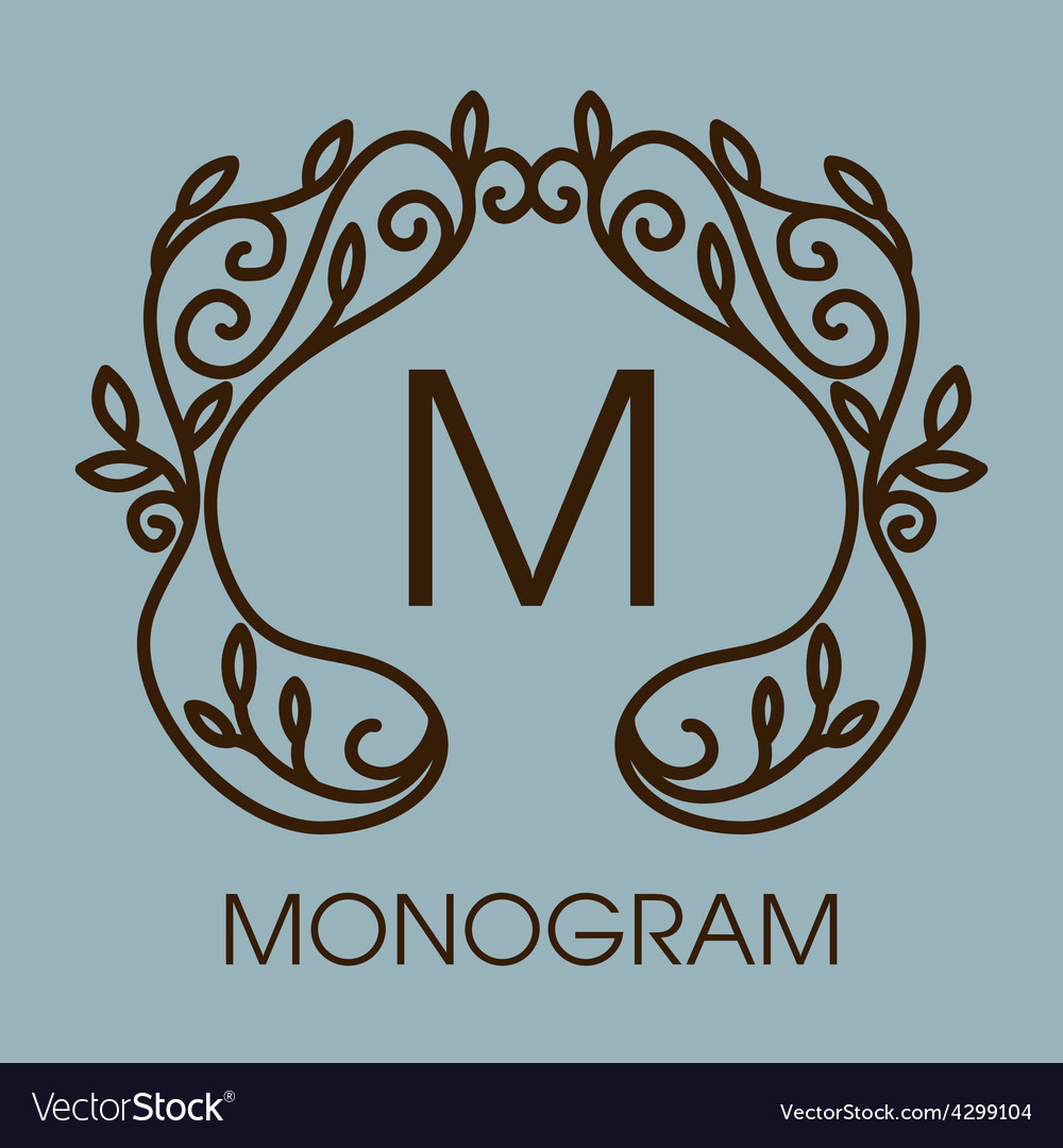 Monogram design floral outline frame or vector | Price: 1 Credit (USD $1)