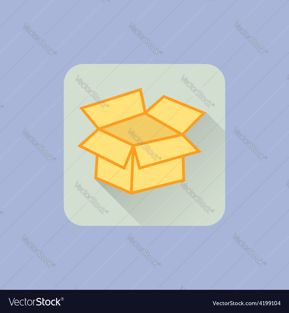 Open box icon flat design with long shadow on vector | Price: 1 Credit (USD $1)