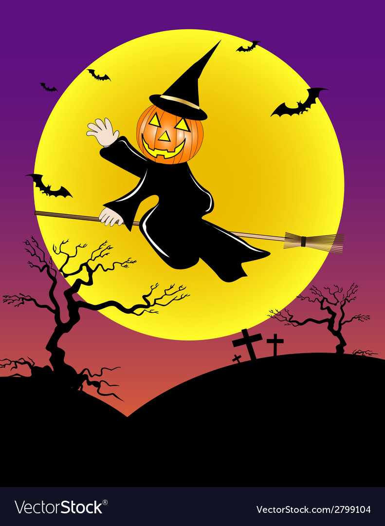 Pumpkin head ride the broom vector   Price: 1 Credit (USD $1)