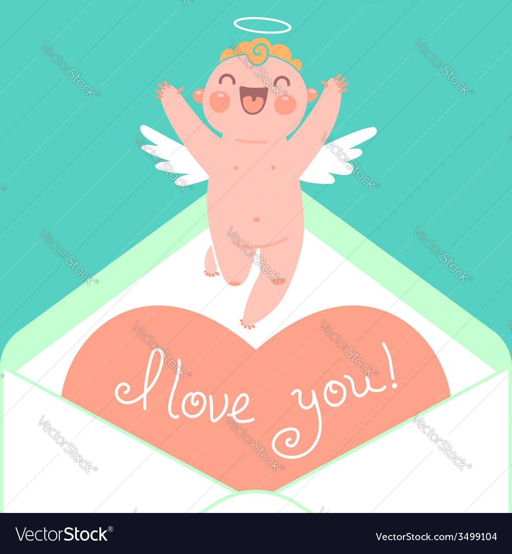 Valentines day card with cute cupids and hearts vector | Price: 1 Credit (USD $1)