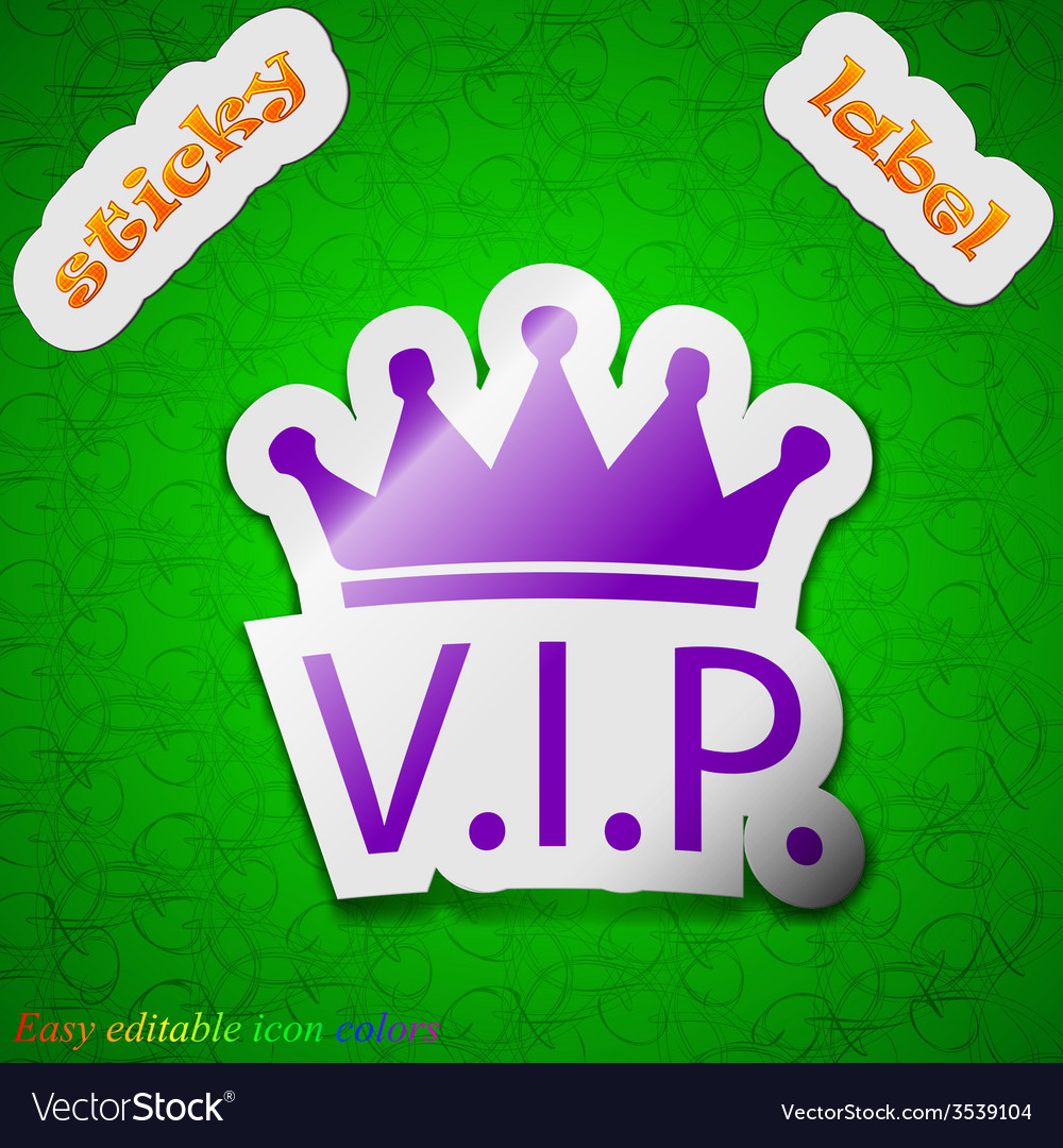 Vip icon sign symbol chic colored sticky label on vector | Price: 1 Credit (USD $1)
