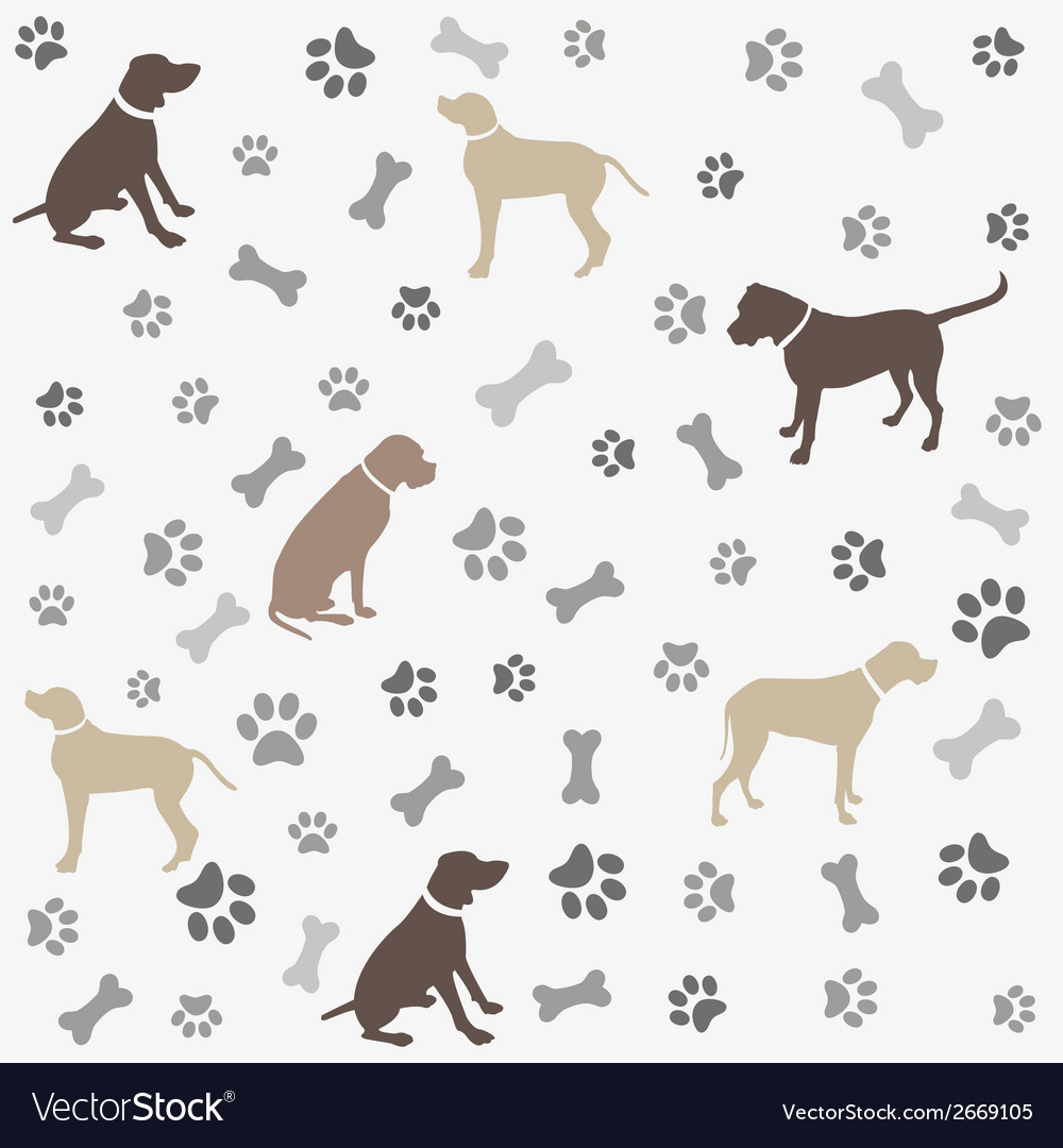 Background with dogs paw print and bone vector | Price: 1 Credit (USD $1)
