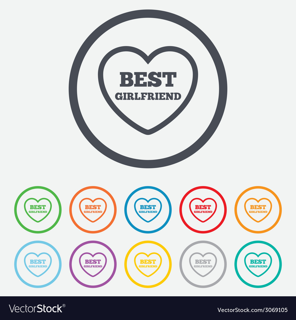 Best girlfriend sign icon heart love symbol vector | Price: 1 Credit (USD $1)