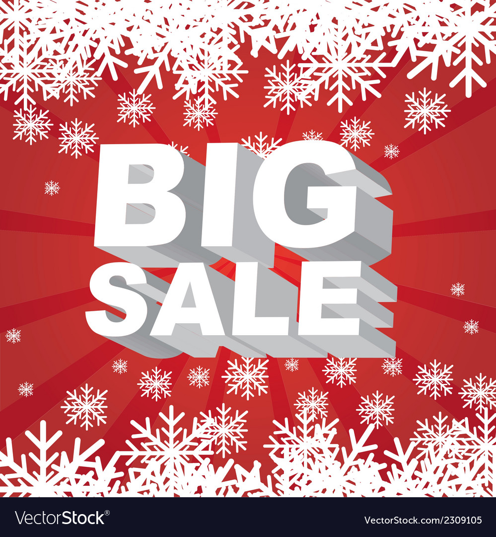 Big sale christmas with snowflakes over red backgr vector | Price: 1 Credit (USD $1)