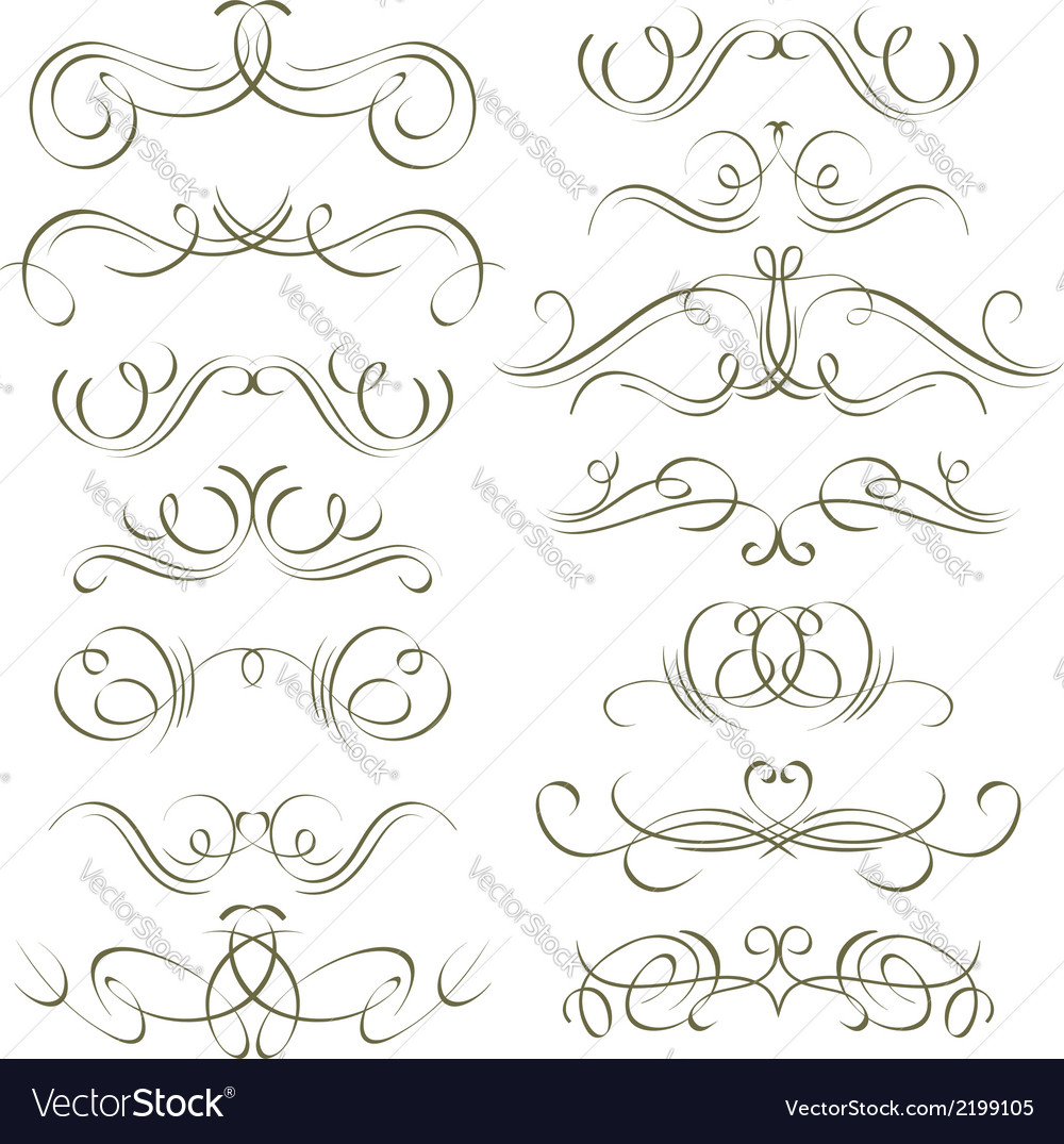 Calligraphy decorative borders ornamental rules vector | Price: 1 Credit (USD $1)
